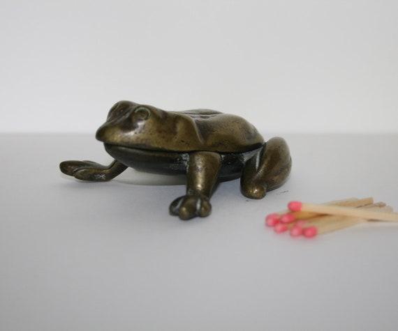 CLEARANCE - Vintage Match Holder or Match Strike, Brass Frog