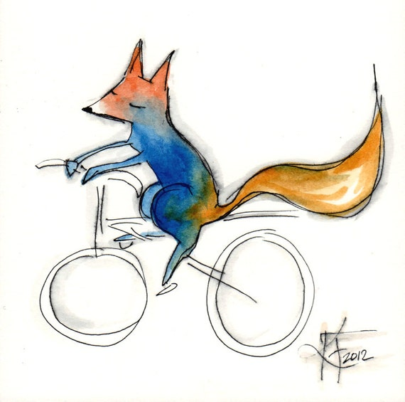 Fox on a Bike . Blue and Orange Fox Print . Clean and Simple . No Fuss . Just Sweet . Children's Room Decoration