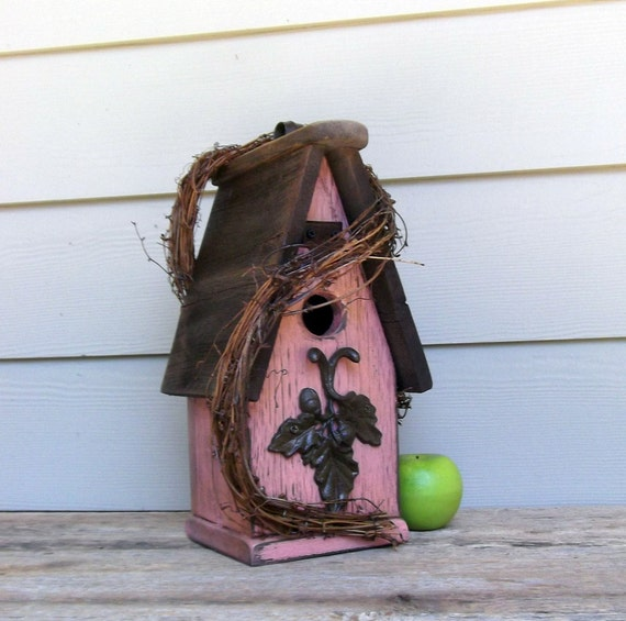 Shabby Chic Birdhouse, Primitive Pink Birdhouse, Recycled Rusty Hardware, Decorative or Outdoor Birdhouse, Rustic, Reclaimed, Grapevine