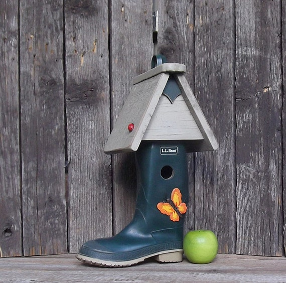 Boot Birdhouse, L L Bean Rubber Boot, One of a Kind, Whimsical Birdhouse, Decorative or Outdoor Birdhouse, Recycled, Reclaimed, Repurposed