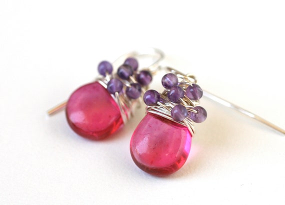 Clearance Sale Earrings Hot Pink Smooth Quartz and Purple Amethyst Sterling Silver Wire Wrapped Earrings