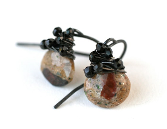 Black and Orange Dangle Drop Earrings Oxidized Silver