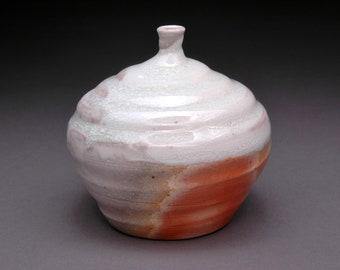 Wood Fired Bud Vase with Beautiful Orange Flashing and Translucent Opalescent Glaze