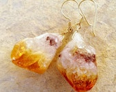 Raw Citrine Earrings - Citrine Jewelry - Yellow Earrings - November Birthstone - 14K Gold Filled Jewellery - Gemstone - Nugget - Chunky