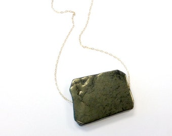 Pyrite Necklace - Yellow Gold Jewelry - Natural Gemstone Jewellery - Chunky - Chain - Pendant - Fashion - Unique