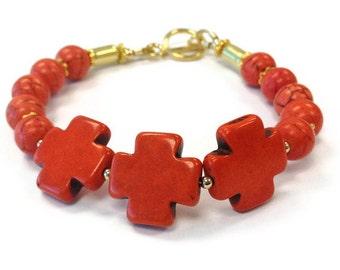 Orange Turquoise Bracelet - Celtic Cross Jewelry - UT Longhorn Jewellery - Gold - Gemstone - Handmade - Colorblock B-298 299 300