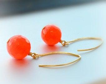 Orange Earrings - Neon Jewelry - Gold Jewelry - Fluorescent Jewellery - Bright Agate Gemstone - Spring Fashion Vibrant