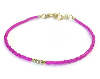 Neon Pink Beaded Bracelet 24K Gold Vermeil Jewelry Thin Skinny Everyday Jewellery Minimal Layer Bright Colors Summer Fashion Hot Pink B-327