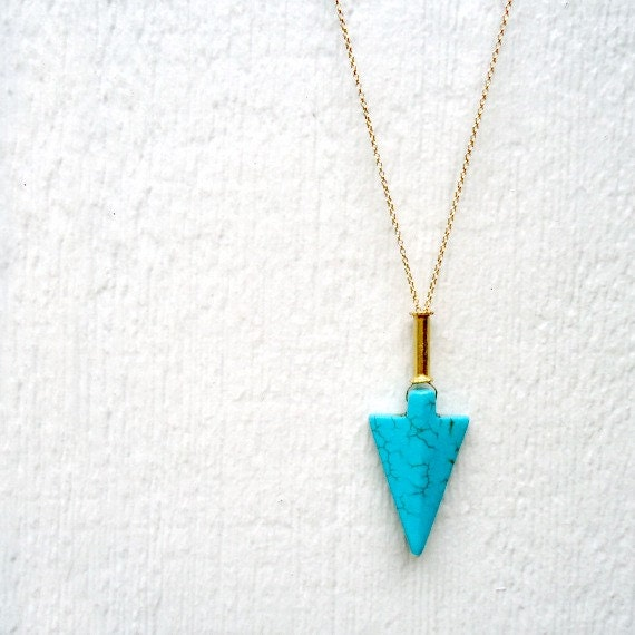 Turquoise Necklace - Arrow Pendant - Gold - Native American
