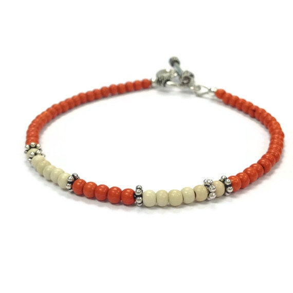 Skinny Orange Bracelet - Layer - Turquoise Gemstone Jewellery - Sterling Silver Jewelry Cream Stack Thin Fashion UT B-277