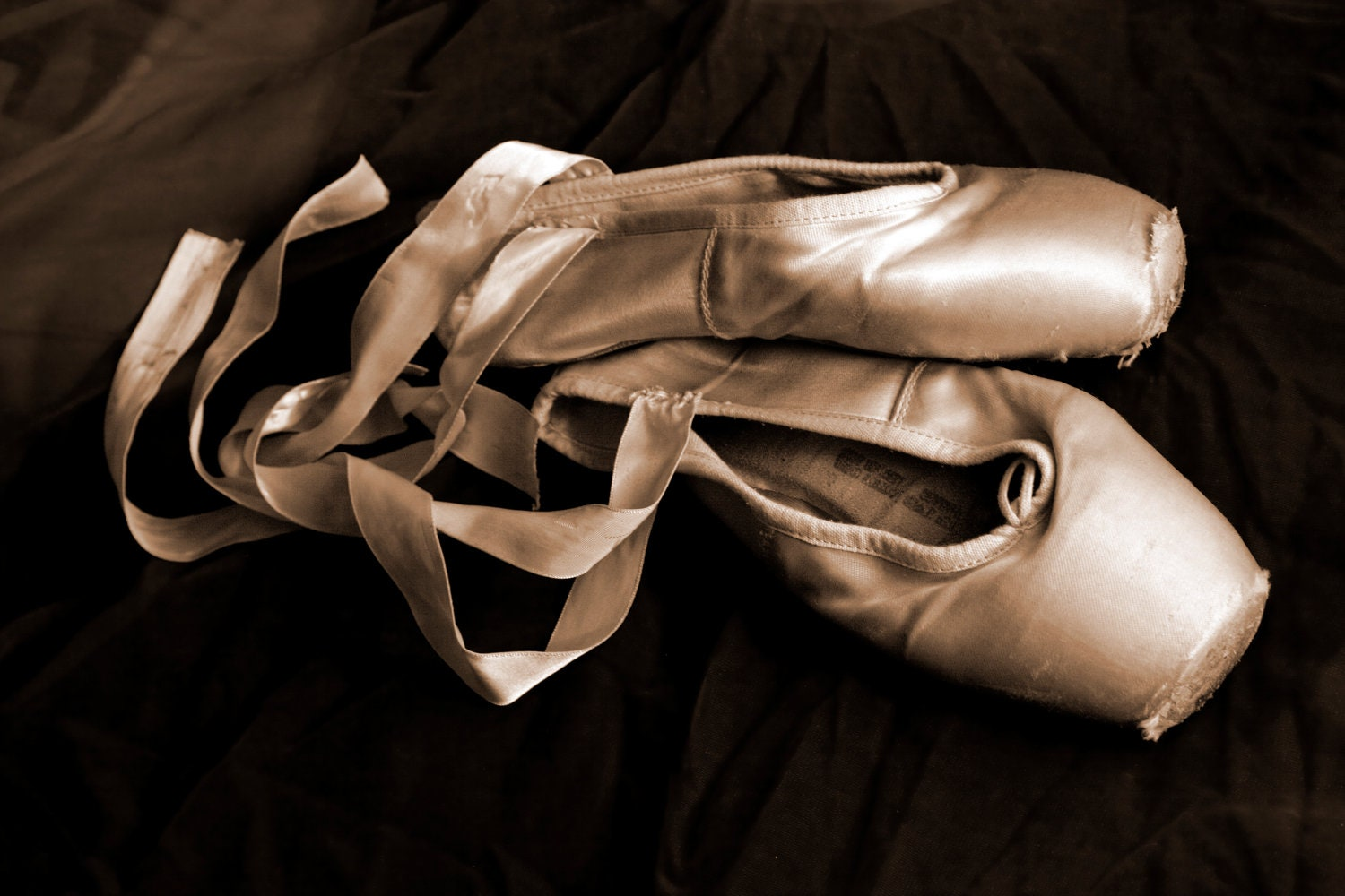 worn sepia ballet pointe shoes fine art by aleishaevans on