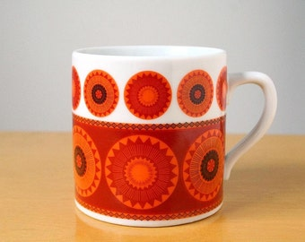 Red and orange porcelain mug, mid century modern porcelain mug