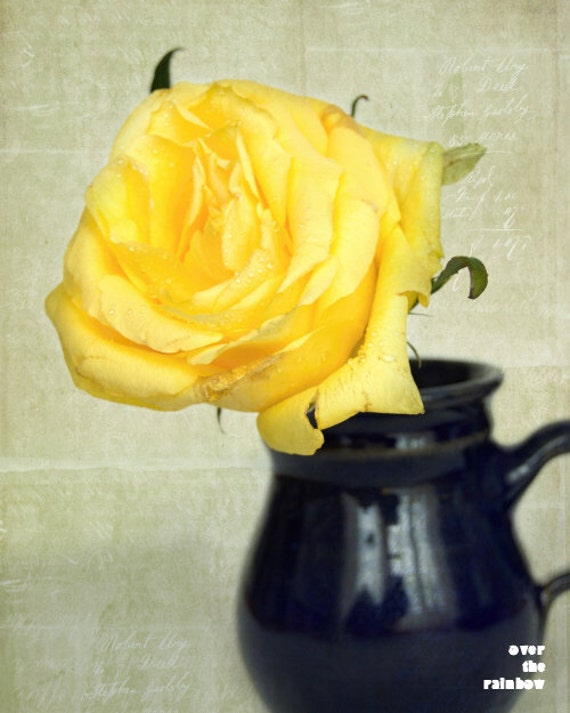 Yellow rose in a Blue vase, Shabby chic home, Nature photography,  Floral still life, French country home, Flower print, Romantic print