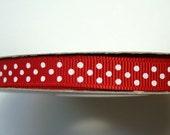 "3/8"" Grosgrain Ribbon Swiss Dots - Red (2) - 25 yard spool"