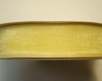 "5/8"" Organza Ribbon - Baby Maize - 25 yard Spool"