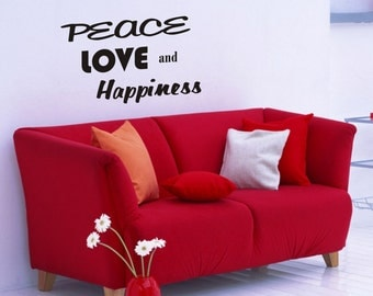 Peace Love and Happiness wall decal removable sticker