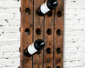 Wine Rack - Riddling Rack Wood Wall Hanging - Sale - House Warming - Gift - Anniversary - Graduation - Wine Glass - Riddle - Organizer