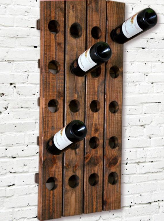 Wine Rack Riddling Rack Wood Wall Hanging  (Walnut)