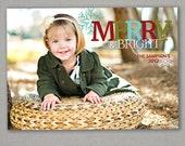 Custom Photo Christmas Card-Merry & Bright