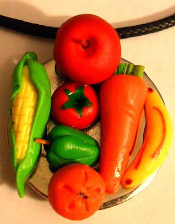 Veggie and Fruit Plate Necklace