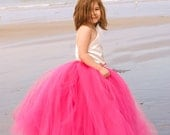 Stunning Ivory Off the Shoulder Top with Full Floor Length Fuschia Skirt and Fuschia Hair Clip