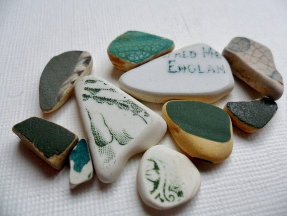 Gorgeous greens sea pottery selection - 10 mixed size pieces - found in England