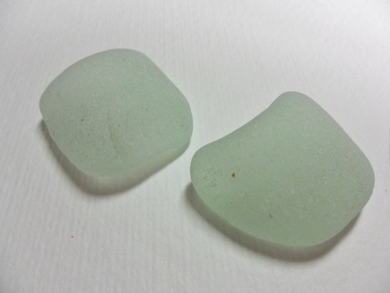 Pristine pair of frosted sea glass bottle rim pieces - found in England