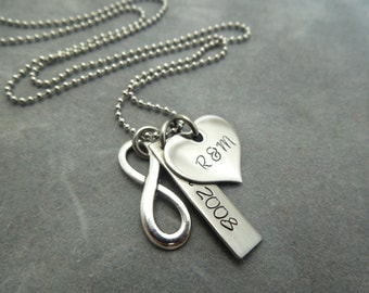 Personalized Infinity necklace, hand stamped stainless steel