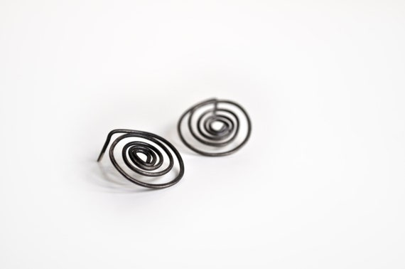 RESERVED FOR YANG-Spiral Sterling Silver Earrings-Oxidized Spiral Stud Earrings-Ancient Greek Inspired-Simple Spiral Posts Under 50