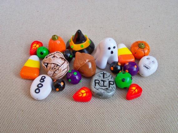 Halloween Charms and Beads, handmade polymer clay, set of 21