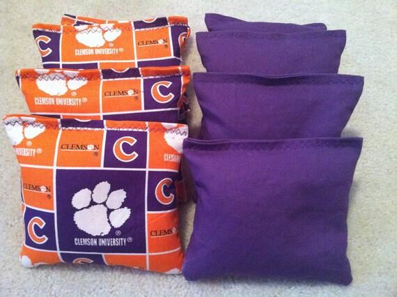 Clemson Tigers Cornhole Bags Set of 8 ACA CERTIFIED