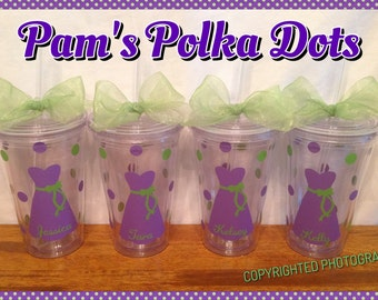 4 Personalized Clear BRIDE & BRIDESMAIDS TUMBLERS Dresses Names Polka Dots Bridal Bachelorette Wedding Party