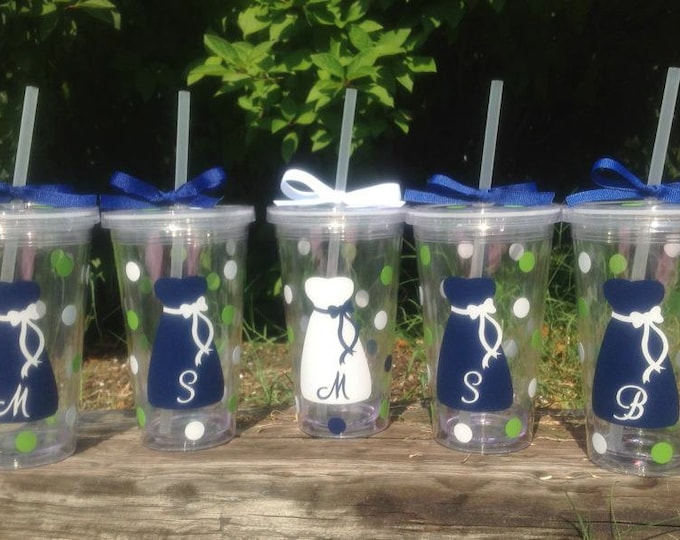4 Personalized 16 oz. Clear BRIDE & BRIDESMAIDS TUMBLERS with Dress Initial Polka Dots Bridal Bachelorette Wedding Party