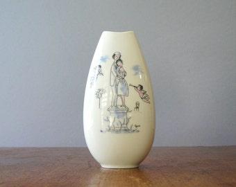"Mid Century Rosenthal Peynet ""Lovers"" Porcelain Vase"