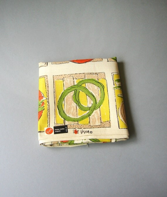 Vintage Vera Neumann Linen Towel With Tag - Many Sandwiches