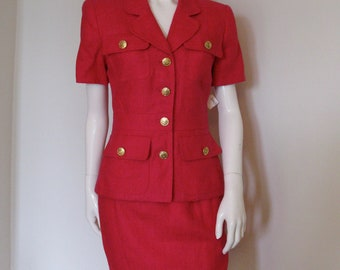 Vintage 1980s Scaasi Dress Fuchsia Linen Pencil Skirt Set Suit with Gold Buttons NWT