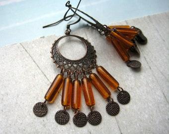 Boho dangle earrings - burnt orange glass - copper details - tangerine orange - terracotta jewelry