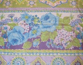 Retro Fabric - Vintage Purple, Lilac with Blue Roses