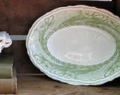 RESERVED for Christy - Antique Green Transferware - English Ironstone Serving Bowl - Iris Pattern - Clementson Bros