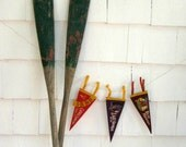Vintage Wooden Boat Oars - Pair of Distressed Row Boat Oars with Hardware