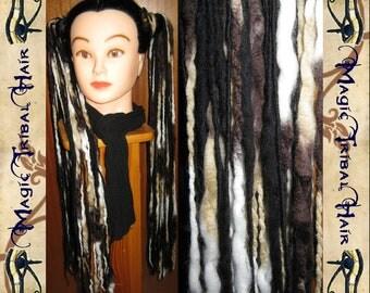 "2 x STEAMPUNK Larp DREAD hair FALLS dreadlocks 96 dreads 24"" long Reenactment pirate Fantasy wig extension Dieselpunk garb Costume accessory"