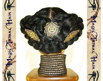 "3 x STEAMPUNK fascinator ""Copper Bloom"" Neo Victorian hair jewelry VINTAGE GEARS Goth tribal fusion bellydance hair flowers Fantasy wedding"