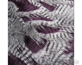 Aubergine Grey  Feathered faux fur  Shag fabric per yard