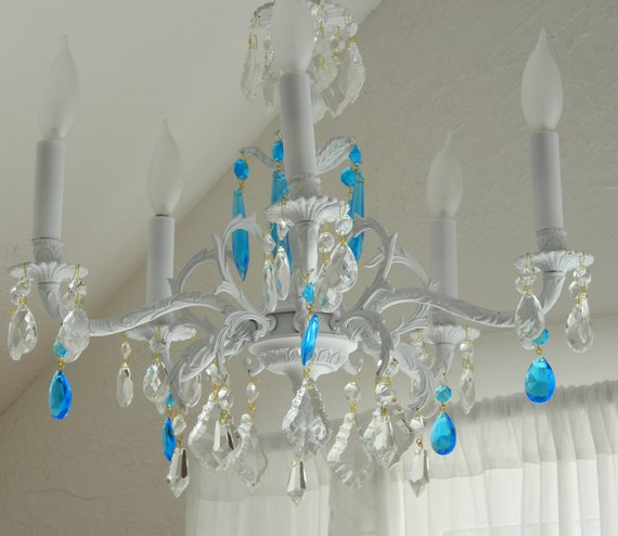European Chandelier Embellished With Sea Blue Crystals