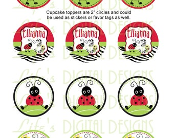 "Lady Bug Cupcake Toppers Zebra Stripe 2"" Birthday Favor Tags Stickers Printable Customizable"