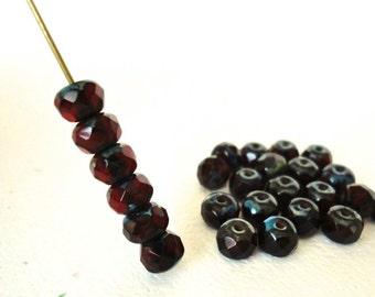 25 Czech Glass 4x6mm Ruby Gemstone Donut Picasso Beads (TR174)