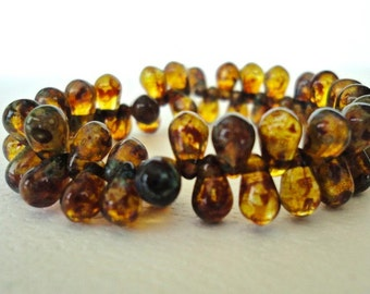 Amber Czech Picasso Tear Drops Glass Beads 25 Pieces