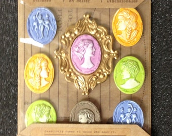 Stickers, Jolee's dimensional, resin cameos, yellow, blue, green, pink, beige, profile