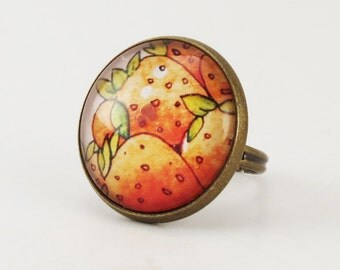Strawberry Ring, Bohemian Style Red Bronze Adjustable Fruit Jewelry