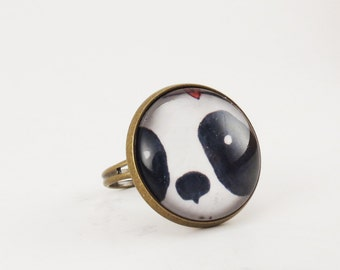 Kawaii Panda Ring, Cute Bear Jewelry, Black And White